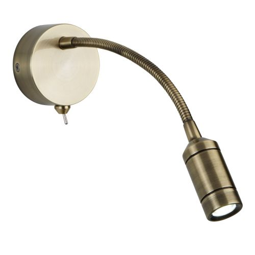 Led Wall Light - Flexi Arm - Antique Brass 2256Ab